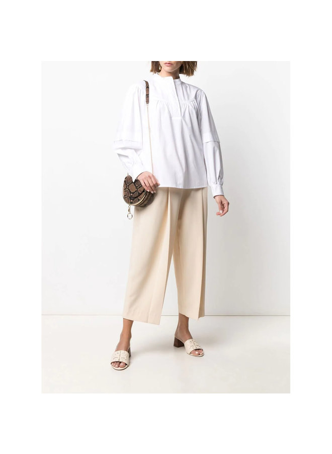 Long Sleeve Blouse in Cotton in White