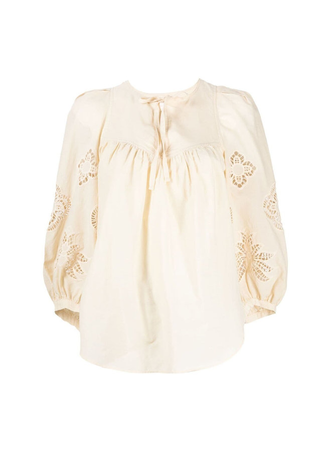 Long Sleeve Broderie Blouse