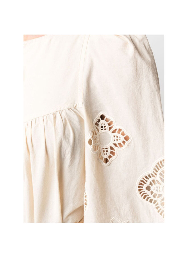 Long Sleeve Broderie Blouse in Cotton in Macadamia Brown