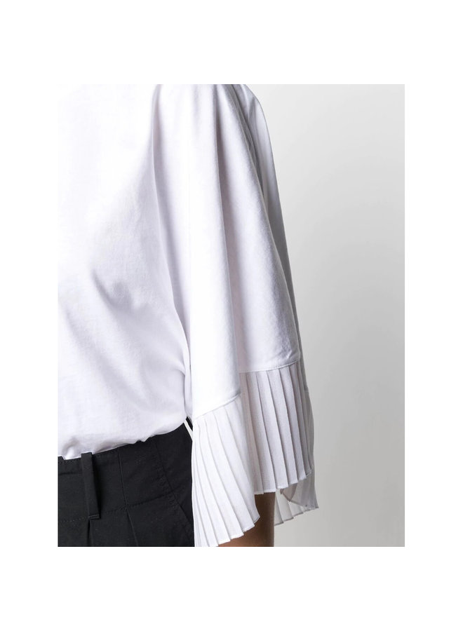 T-shirt with Pleat-trim details in Cotton in White