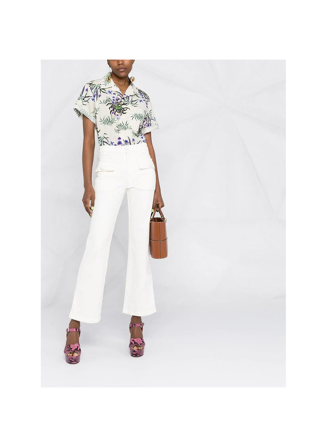 High Waisted Cropped Flare Pants in Cotton in White