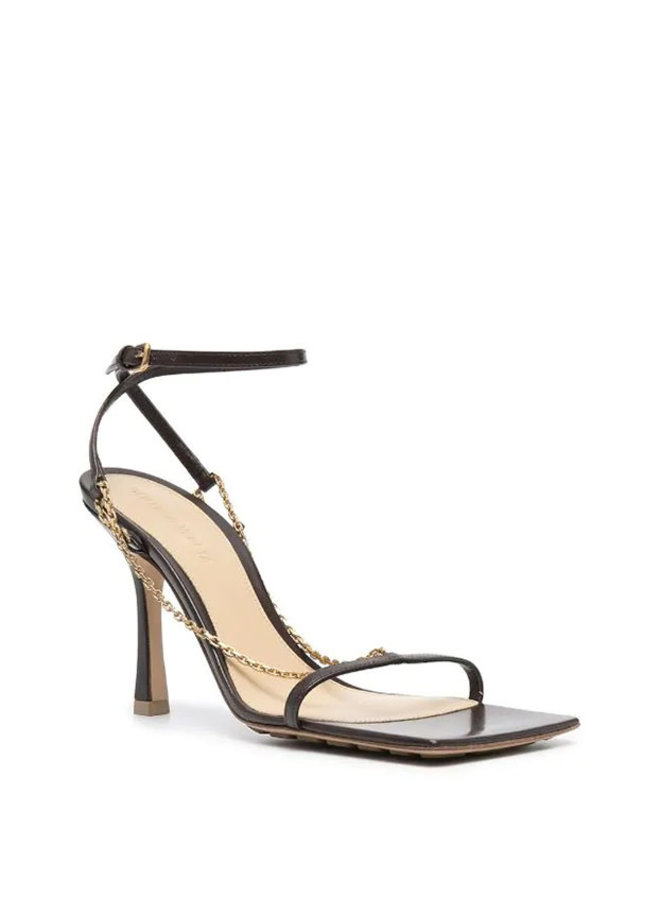 High Heel Stretch Sandals in Leather in Ebony