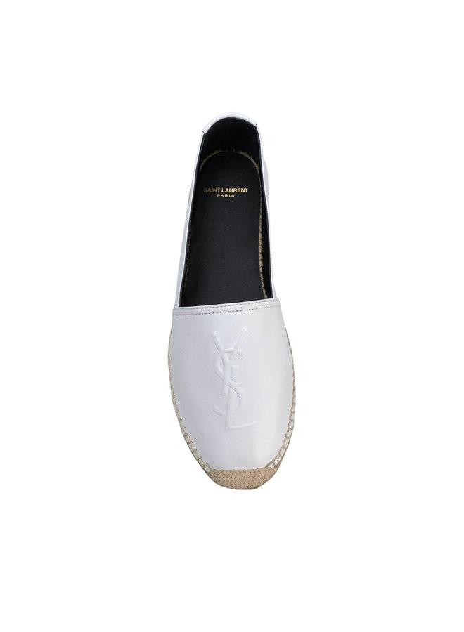 Monogram Flat Espadrilles in Leather in Cream