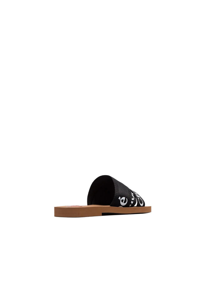 Woody Logo Flat Mules in Black