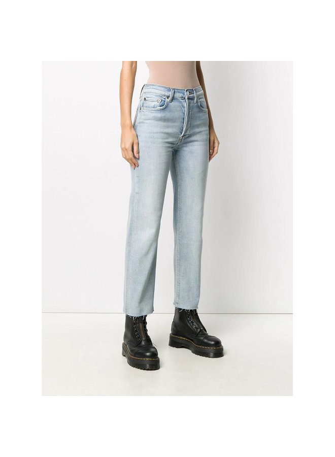 High Waisted Cropped Denim Pants in Icy Blue