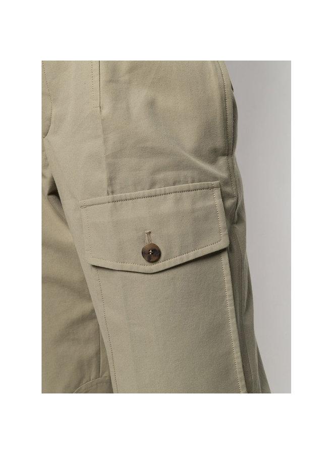 Straight Leg Cargo Pants in Cotton in Khaki Green