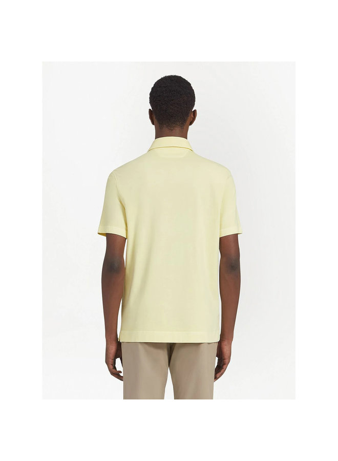 Z Zegna Short Sleeve Polo T-Shirt in Stretch Cotton in Light Yellow