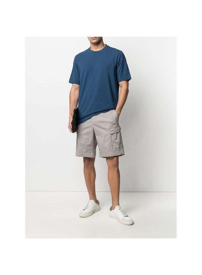 Z Zegna Cargo Shorts in Cotton Linen in Light Grey