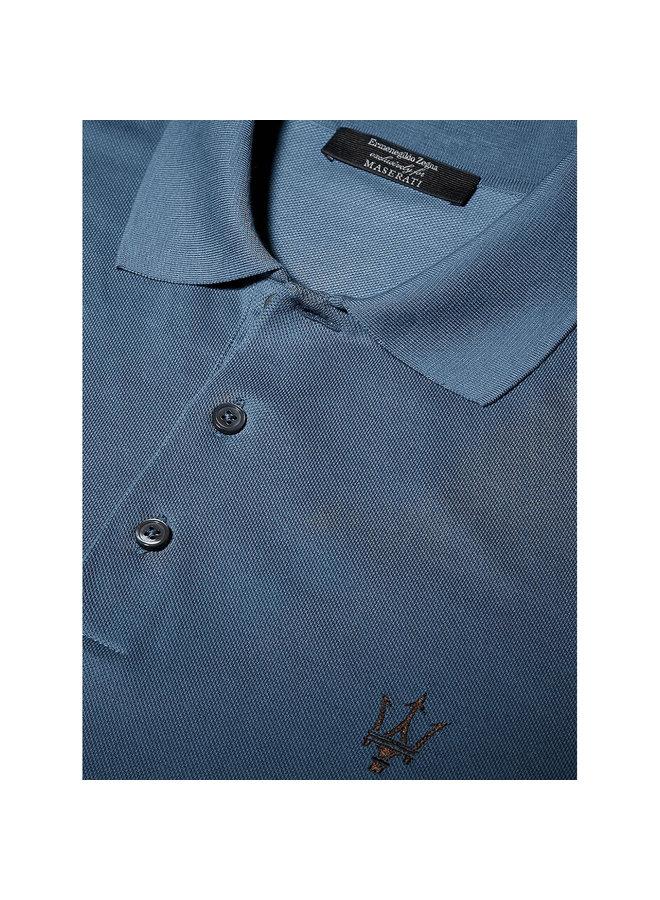 Ermenegildo Zegna Maserati Polo T-Shirt in Cotton in Avio Blue