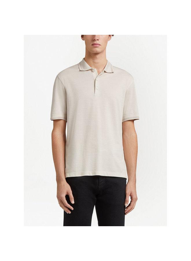 Ermenegildo Zegna Polo T-Shirt in Cotton Silk in Plaster White