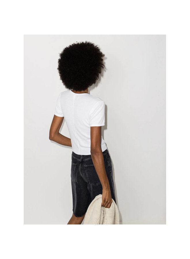 Ribbed T-shirt in Cotton in Optic White
