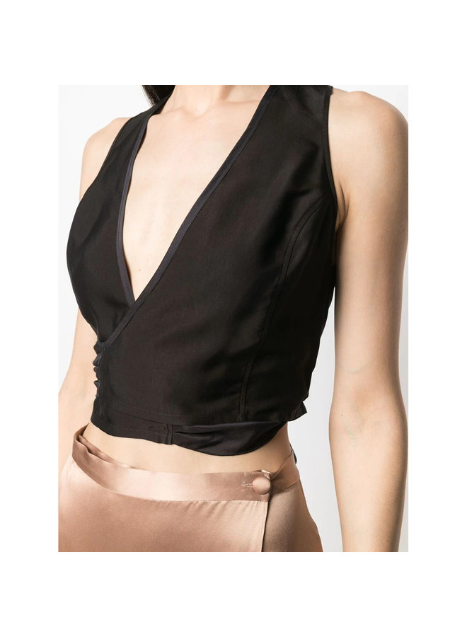 Wrap Cropped Top in Silk in Black