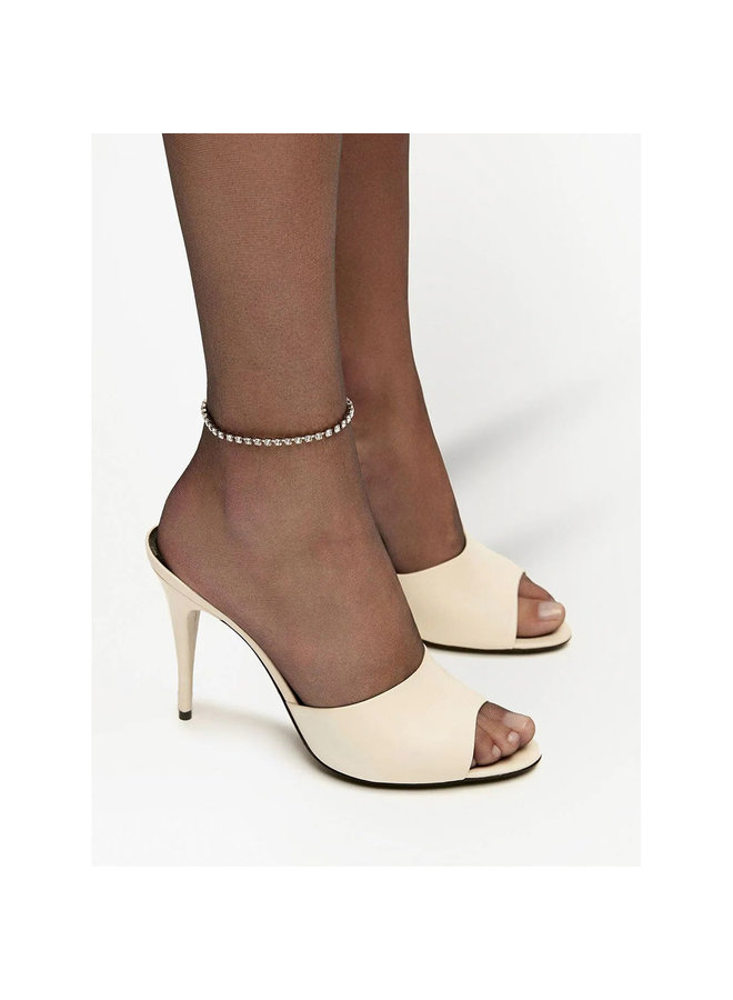 Sexy High Heel Mules in Leather in Pearl