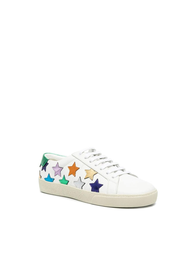 Classic California Low Top Star Sneakers in Leather in White/Multi