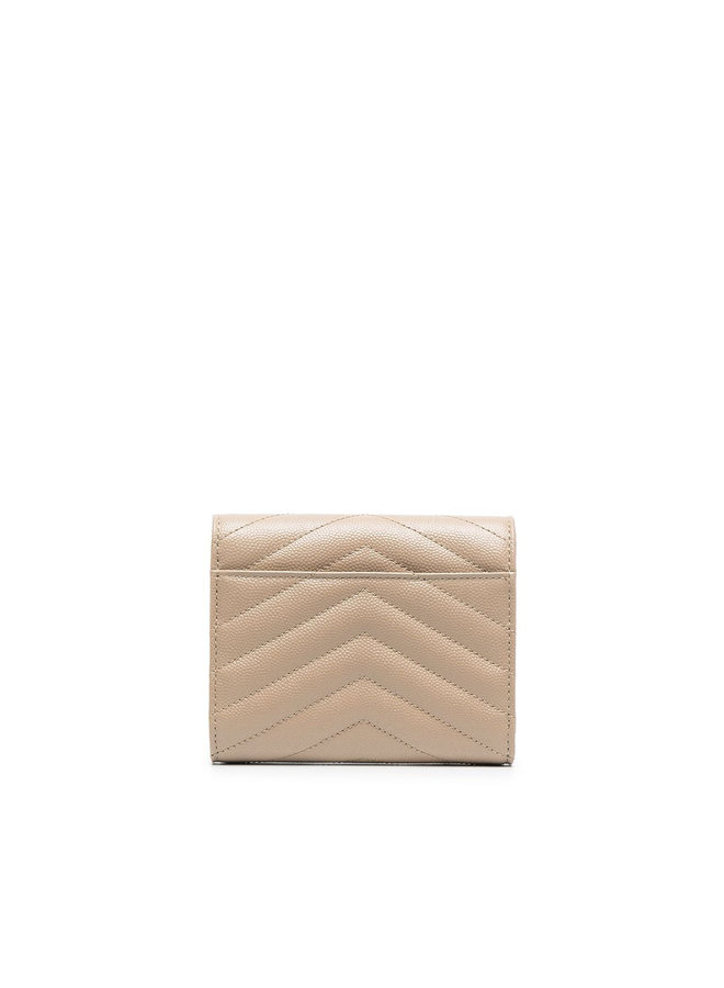 Monogram Small Flap Wallet in Leather in Dark Beige