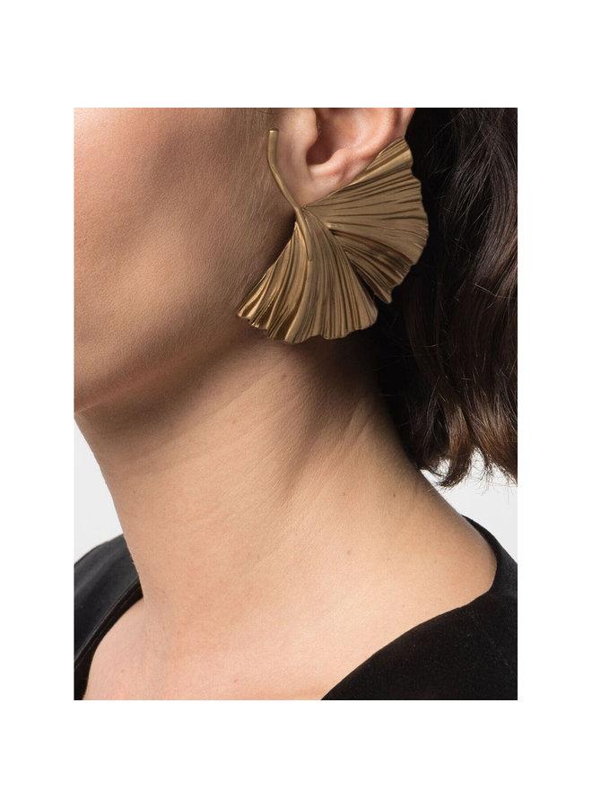 Oversized Leaf Earrings in Gold