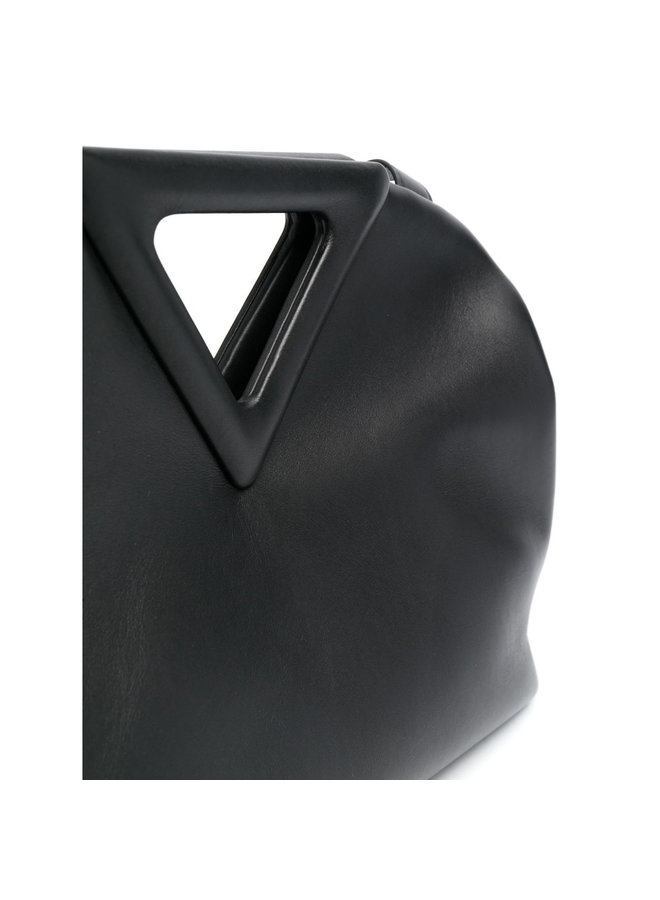 Large Triangle Shoulder Bag in Leather in Black
