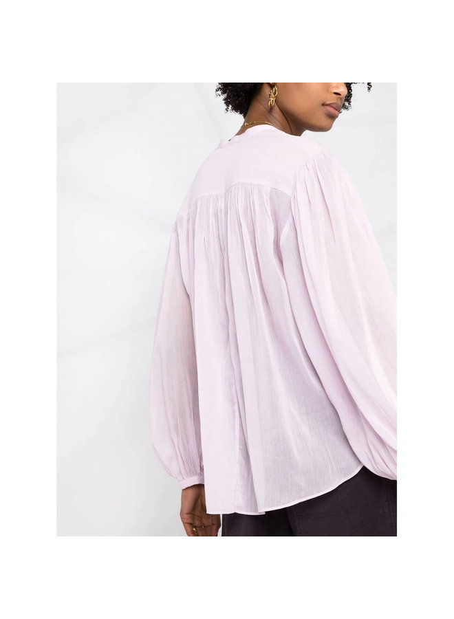 Long Sleeve Blouse in Cotton Silk in Light Pink