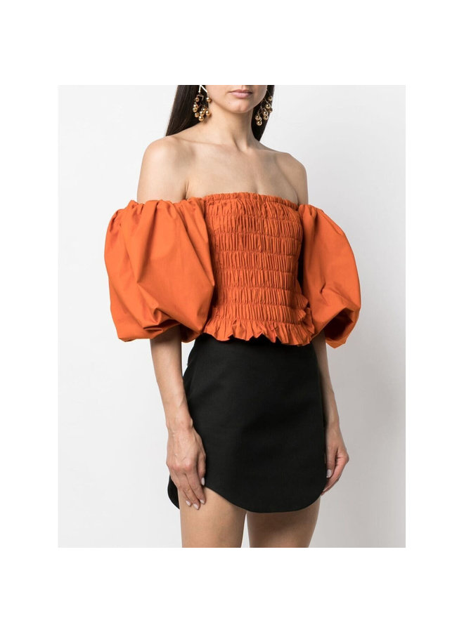 Off Shoulder Puff-Sleeve Blouse in Cotton in Orange