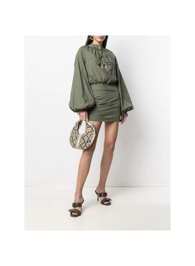 Mini Long Sleeve Dress in Cotton in Khaki