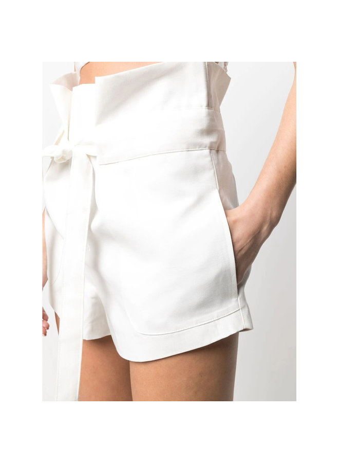 Belted Shorts in Cotton in Off White