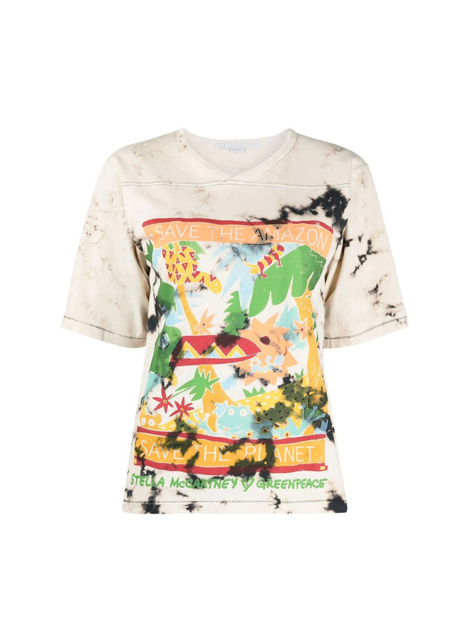 Green Peace Printed T-Shirt in Cotton in Multicolor Brown