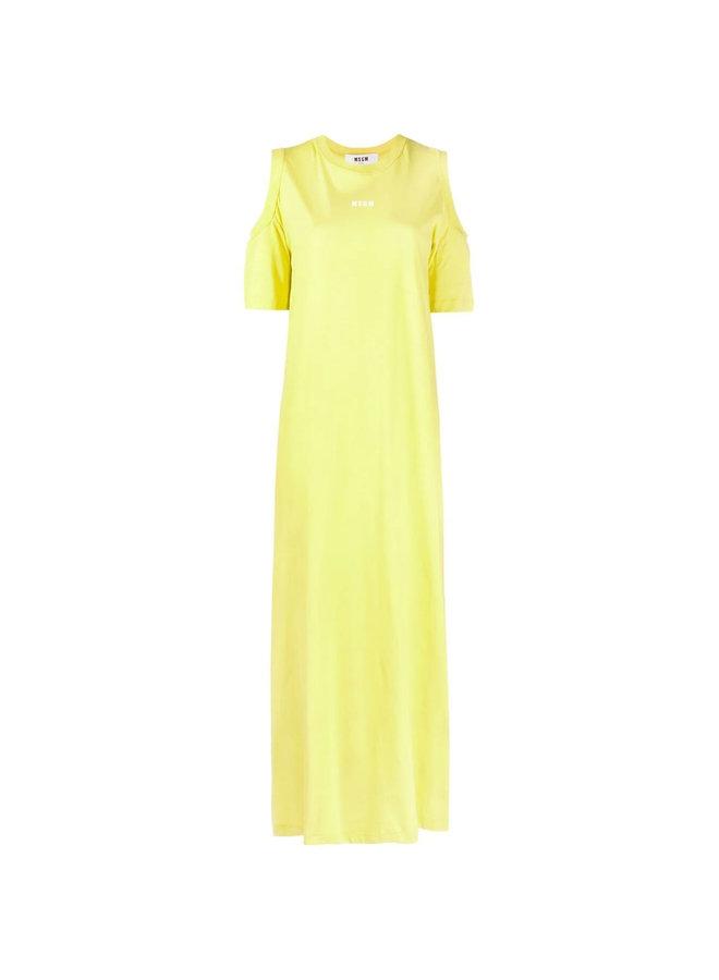 Logo Long Dress in Cotton in Lemon Yellow