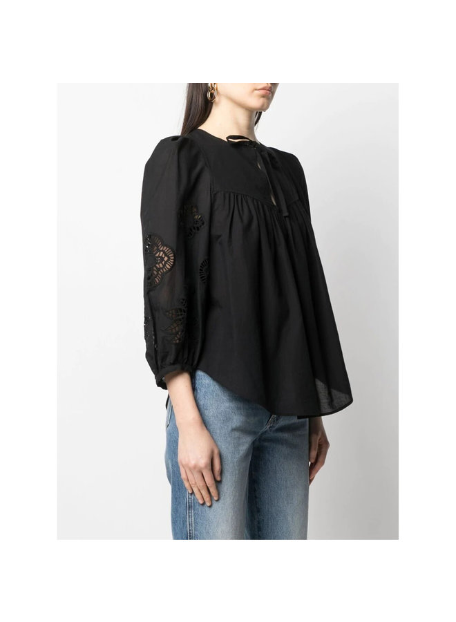 Long Sleeve Blouse in Broderie Cotton in Black