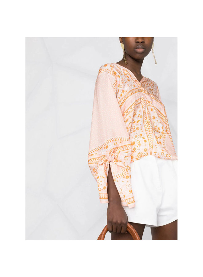 Long Sleeve Printed Blouse in Silk in Orange