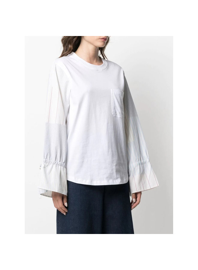 Long Sleeve Patchwork Top in Cotton in White Powder