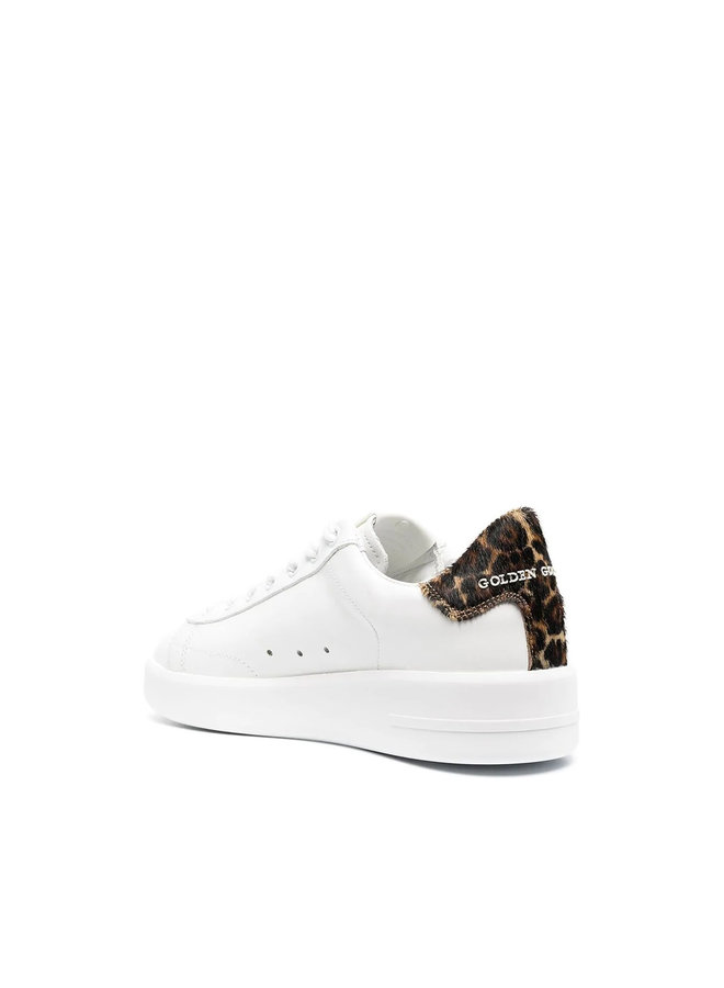 Pure Star Low Top Sneakers in Leather in White/Leopard