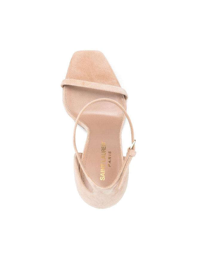 Opyum Logo High Heel Sandals in Suede in Beige