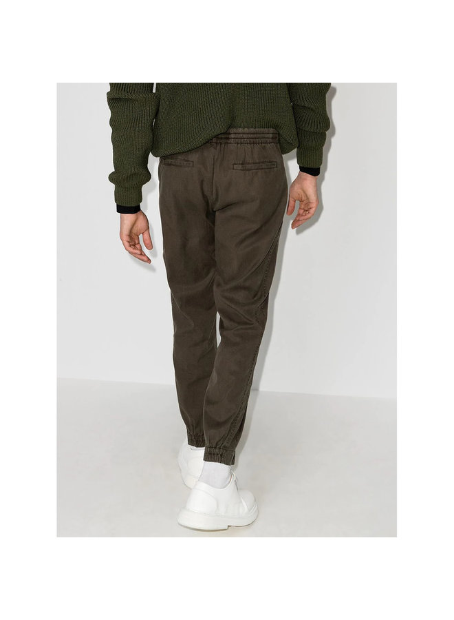 Z Zegna Casual Pants in Cotton Stretch in Army Green