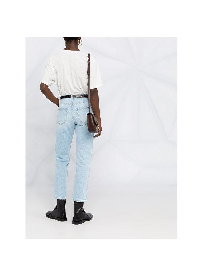 Mid Rise Straight Leg Pants in Denim in Blue