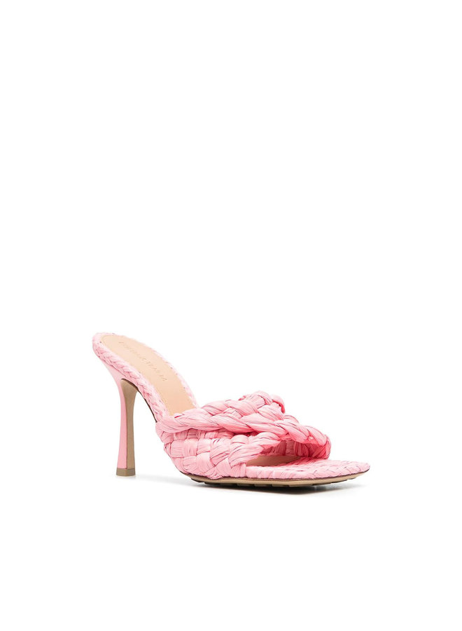 Stretch Woven High Heel Mules in Leather in Blossom