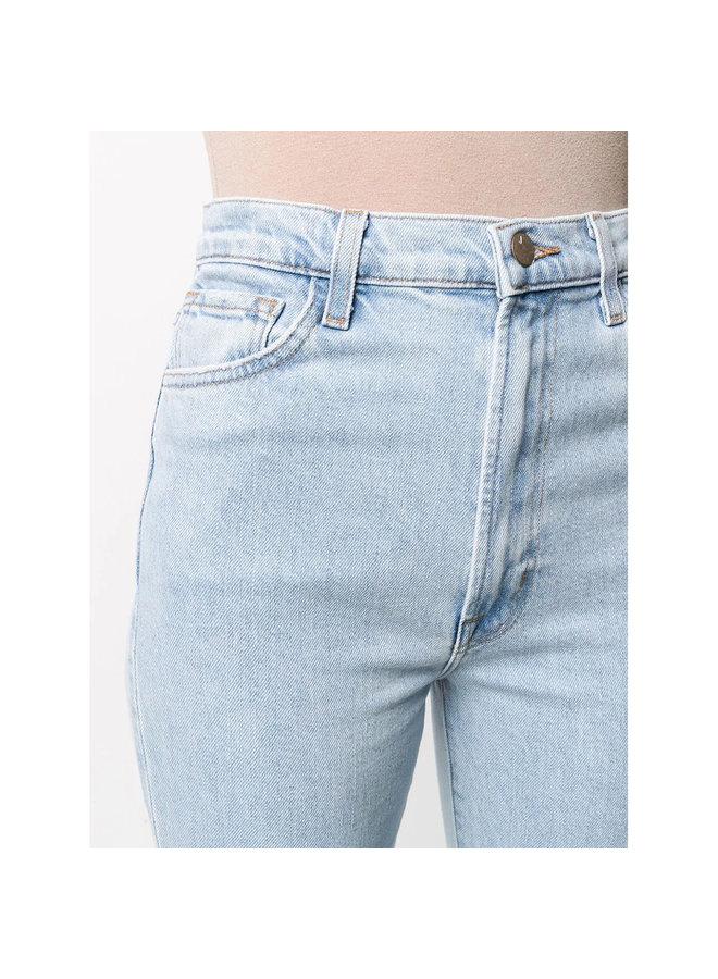 Mid Rise Straight Leg Jeans in Light Blue