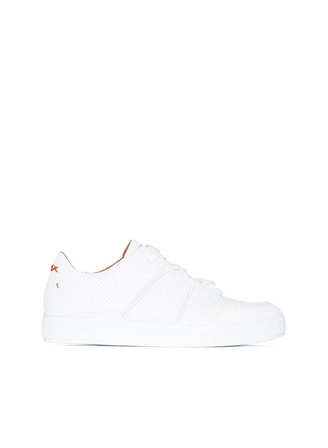 Tiziano EZ Couture XXX Low Top Sneakers in Perforated Leather in White