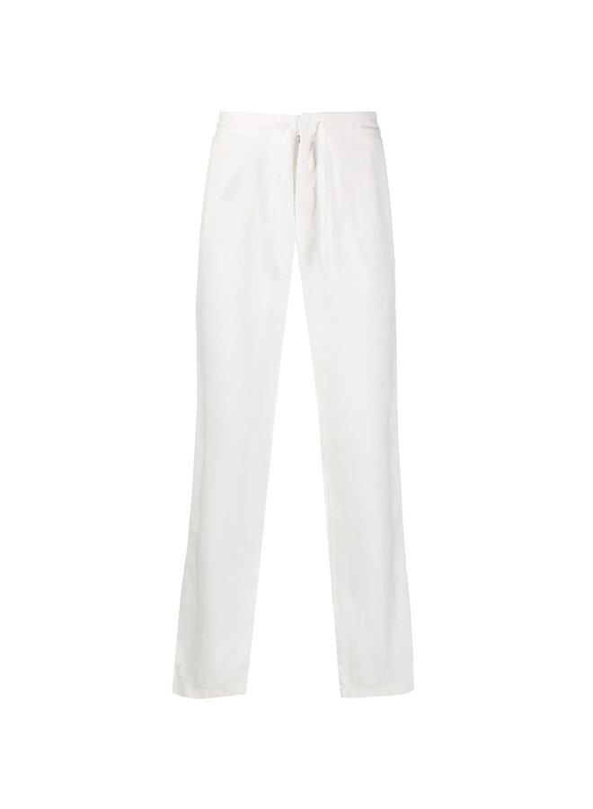 Z Zegna Drawstring Straight Leg Pants in Linen in Dust White
