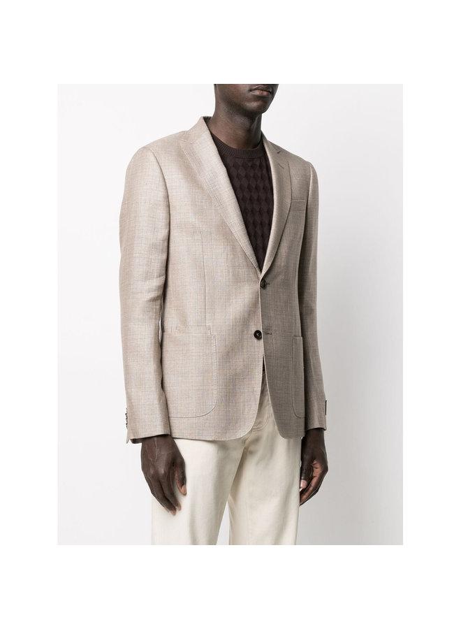 Z Zegna Single Breasted Fitted Blazer Jacket in Linen Wool in Beige