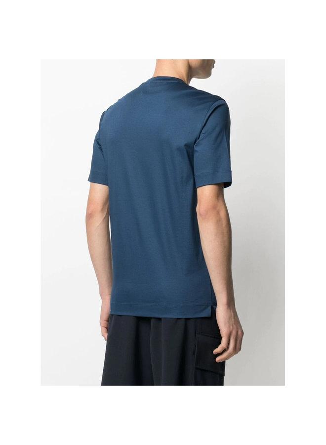 Z Zegna  Round Neck T-Shirt in Cotton in Avio Blue
