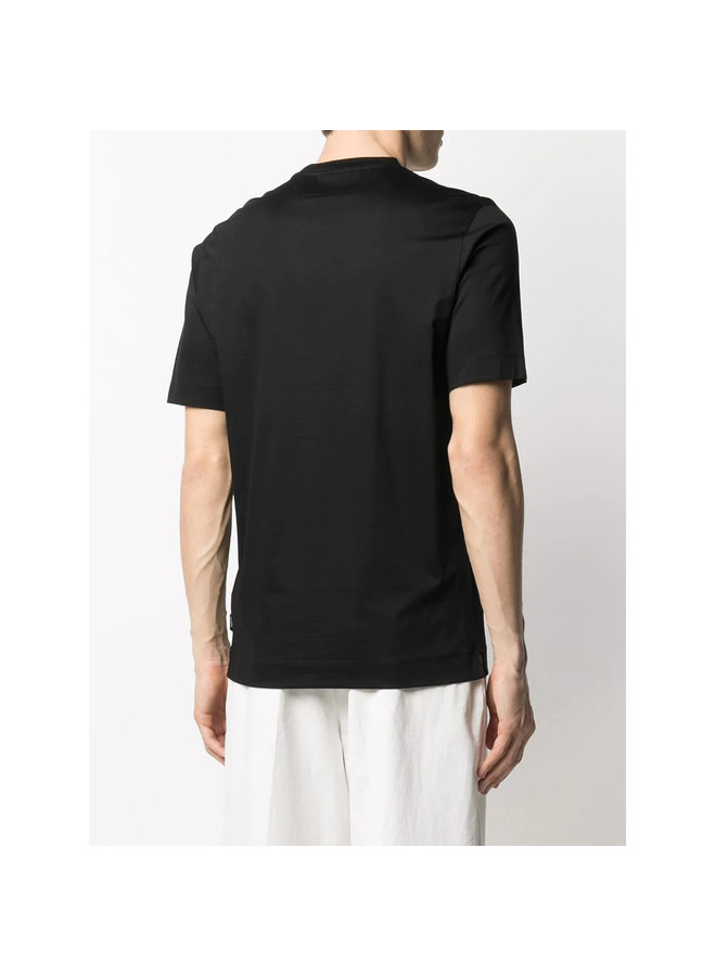 Z Zegna Crew Neck T-shirt in Cotton in Black