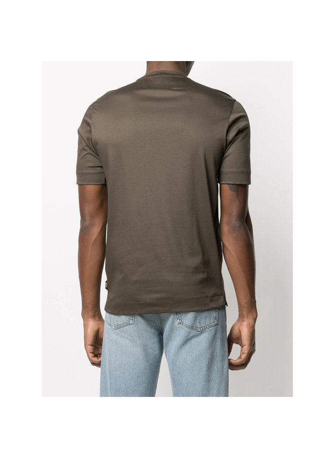 Z Zegna Crew Neck T-shirt in Cotton in Army Green