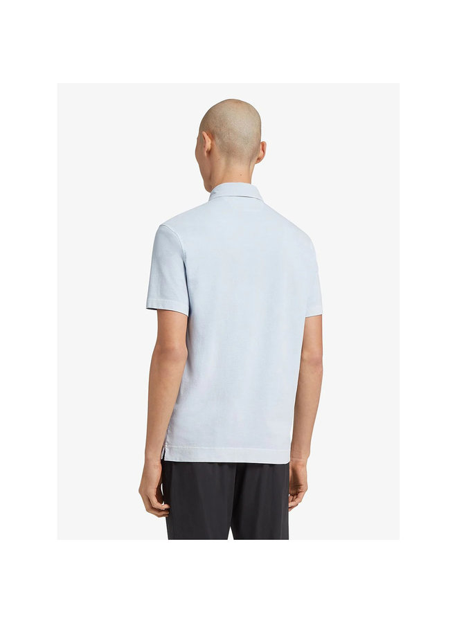 Z Zegna Polo T-shirt in Cotton in Pale Blue