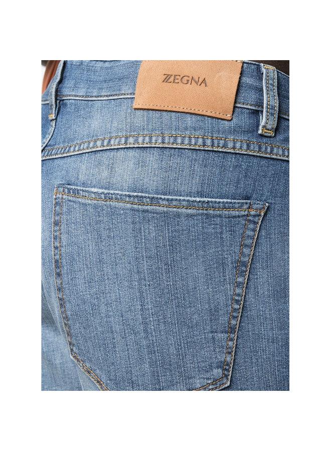 Z Zegna Slim Fit Jeans in Stretch Denim Cotton in Stone Wash Blue