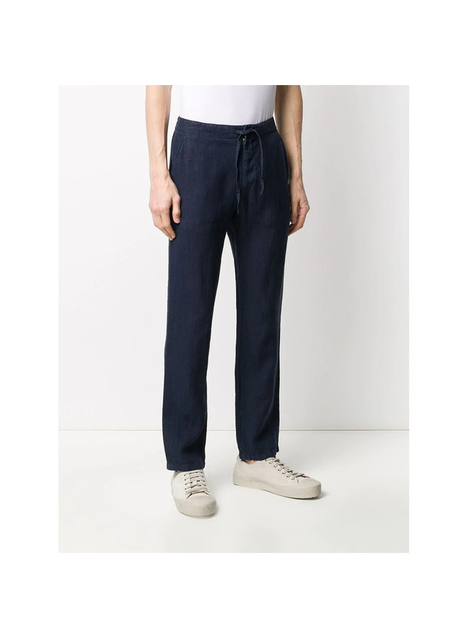 Z Zegna Drawstring Straight Leg Pants in Linen in Navy