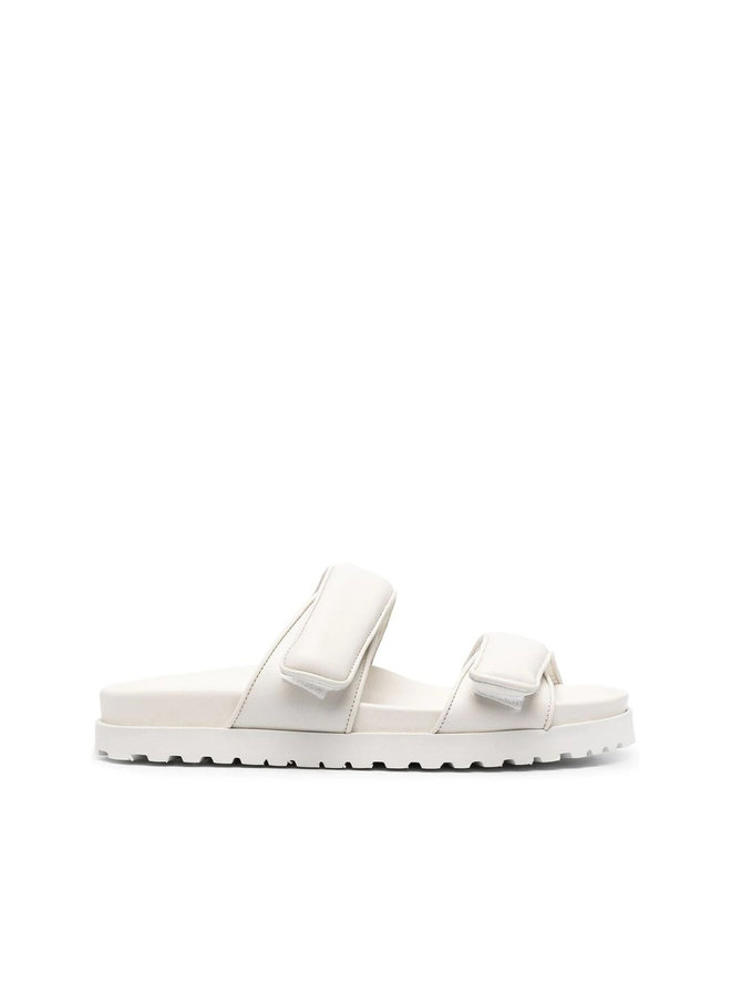 Flat Touch-Strap Mules in Leather in Off White