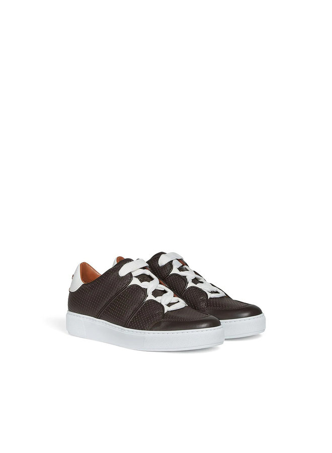 Tiziano EZ Couture XXX Low Top Sneakers in Perforated Leather in Brown