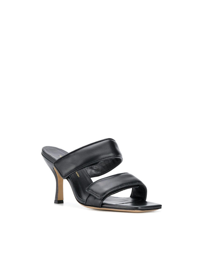 High Heel Mules in Leather in Black
