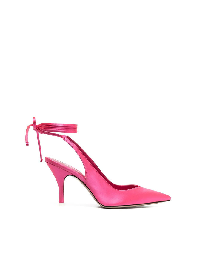 Mid Heel Lace Up Pumps in Satin in Pink