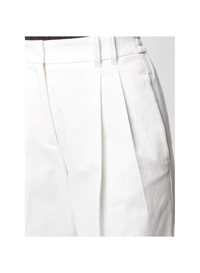 High Waisted Wide Leg Pants in Cotton in Ivory